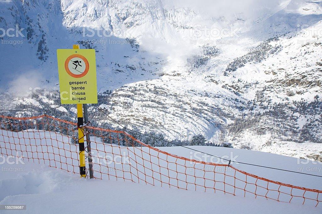 closed ski slope stock photo