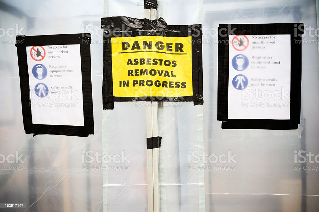 Closed space with danger warning for Asbestos Removal stock photo