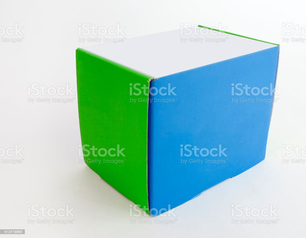 Closed Square Box Blue and Green Sides White Top stock photo