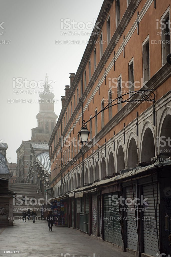 Closed stalls with the Rialto Bridge in the background stock photo