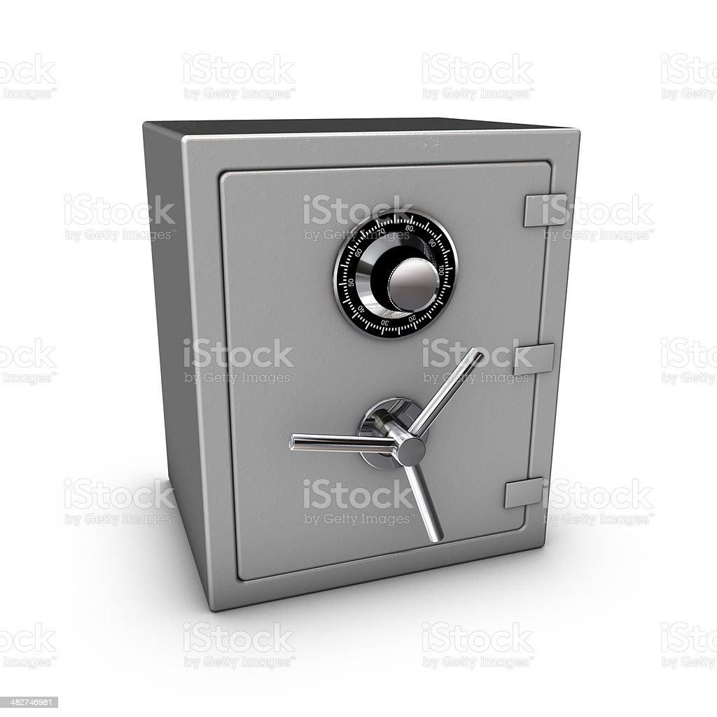 Closed steel safe isolated on white background royalty-free stock photo