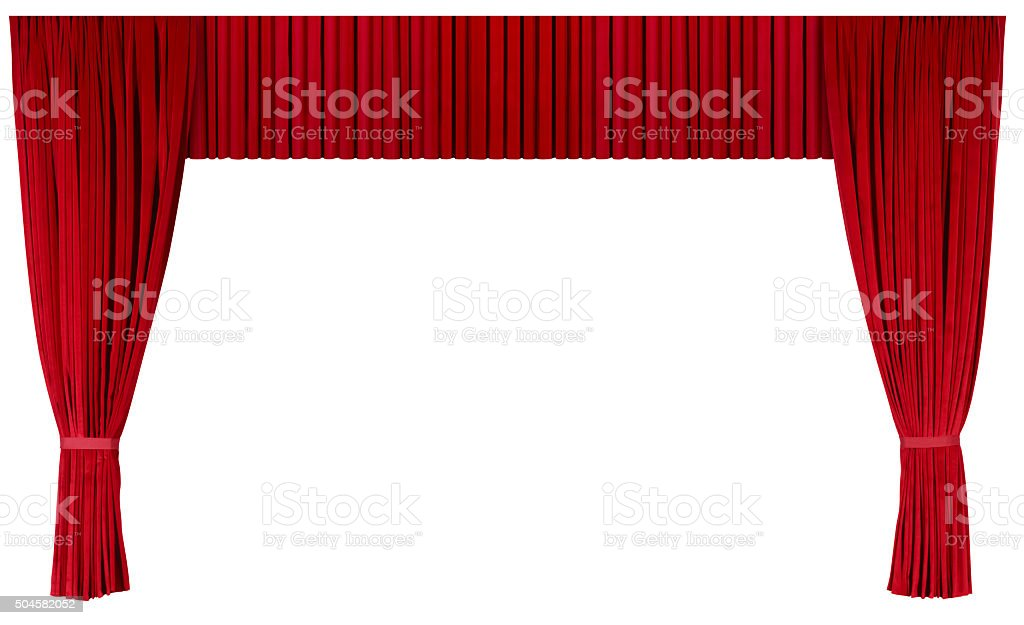 Closed Theater Curtains (isolated with clipping path over white background) stock photo