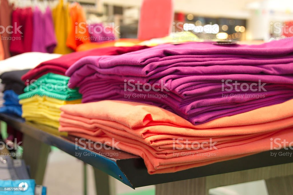 Closed up Colorful T-Shirt stock photo
