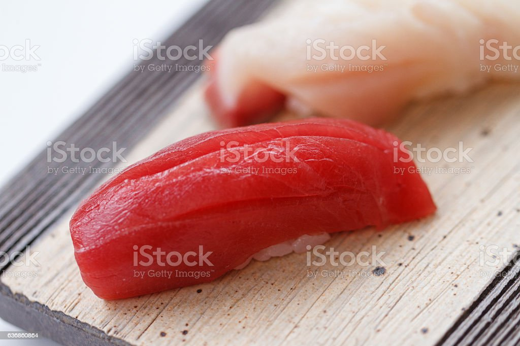 Closed up Maguro Sushi on the Stone Plate. stock photo