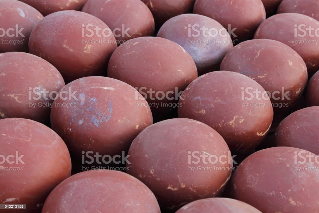 Closed up of clay pot. stock photo