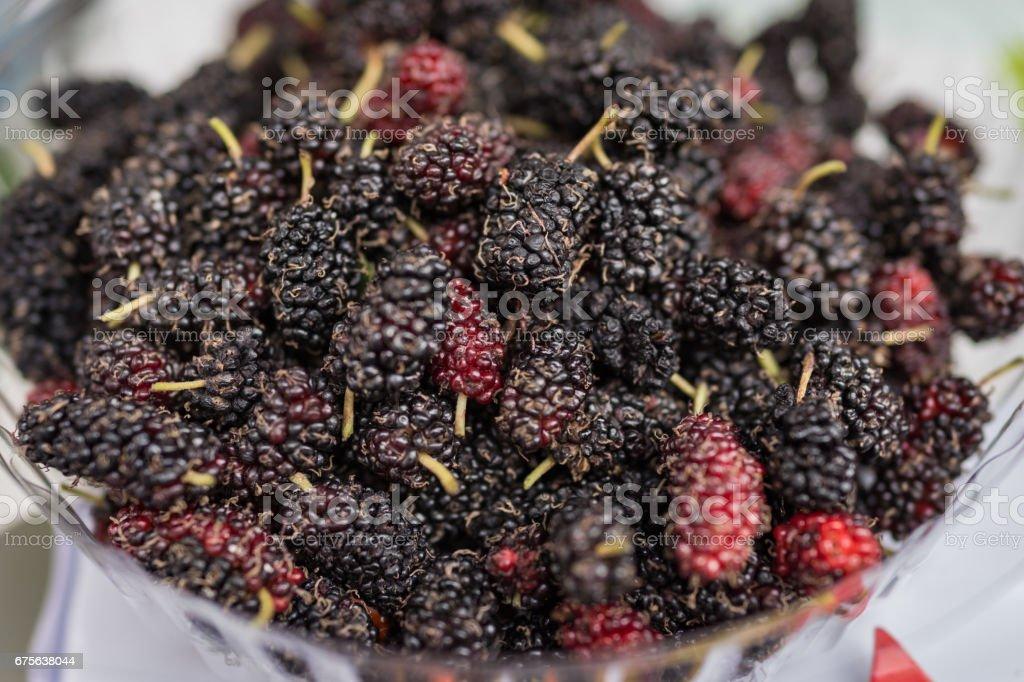 Closed up of fresh organic ripe mulberry stock photo