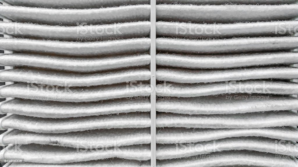 closed up of Used Air condition filter stock photo