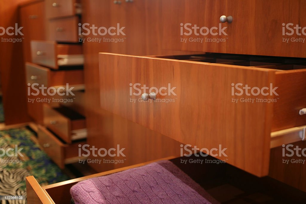 Closed up of wood drawers at a Closet room stock photo