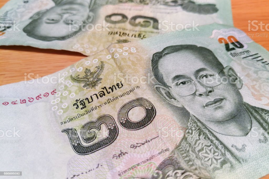 Closed up on Thai banknote 20 BATH. stock photo