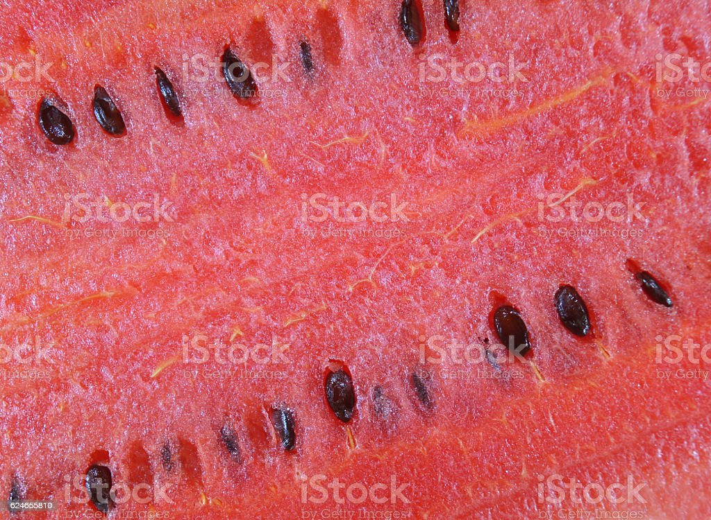 Closed up texture of ripe red watermelon with seed, background stock photo