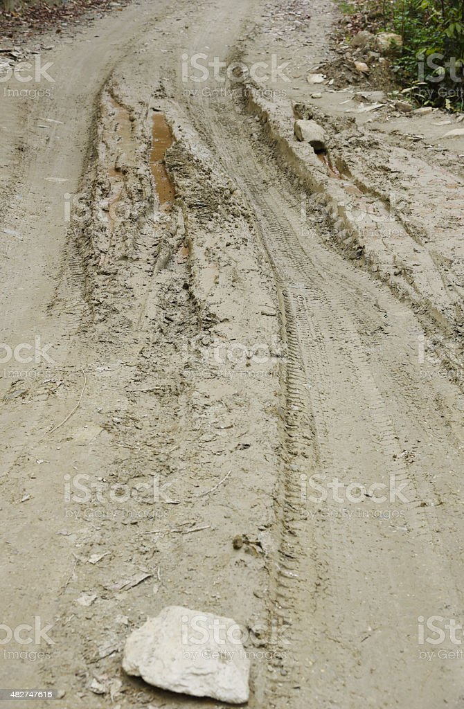 closed up the mud path on village in Nepal stock photo