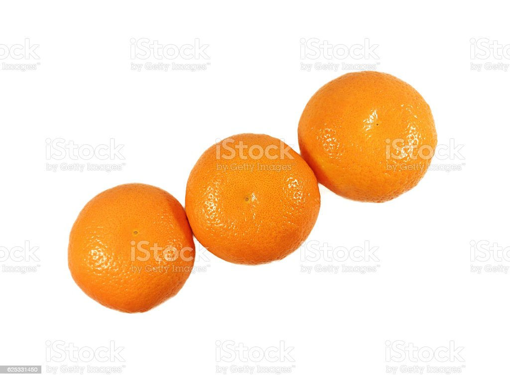 Closed up three vivid color oranges isolated on white background stock photo