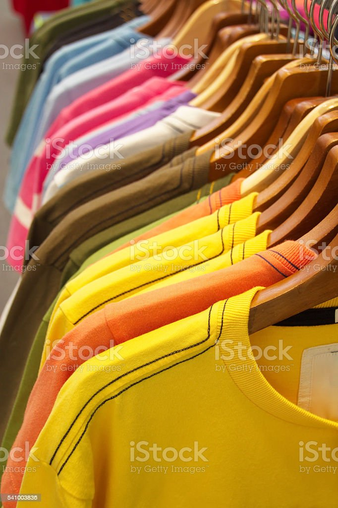 Closed up T-Shirts stock photo