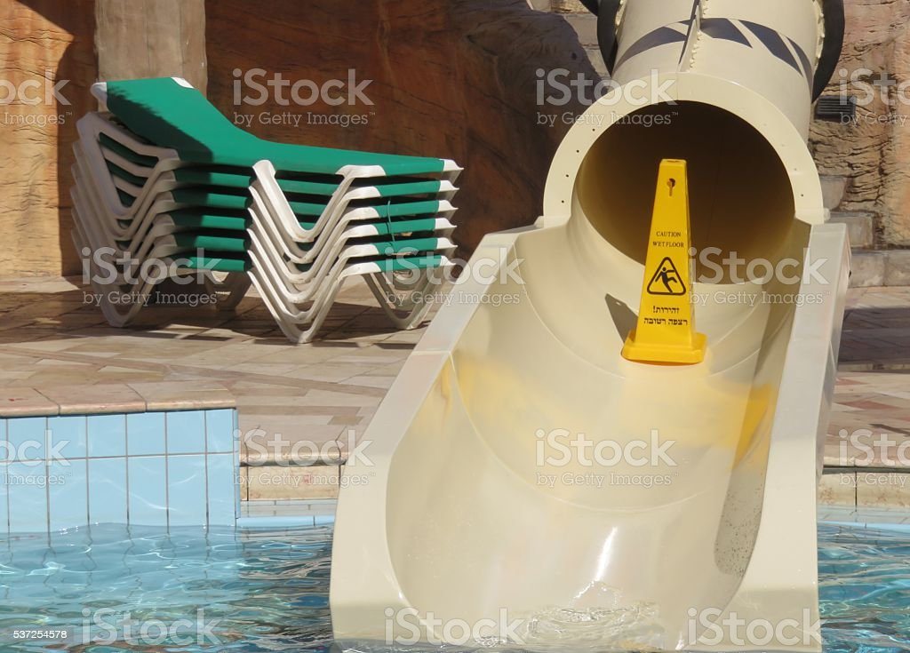 Closed water slide stock photo