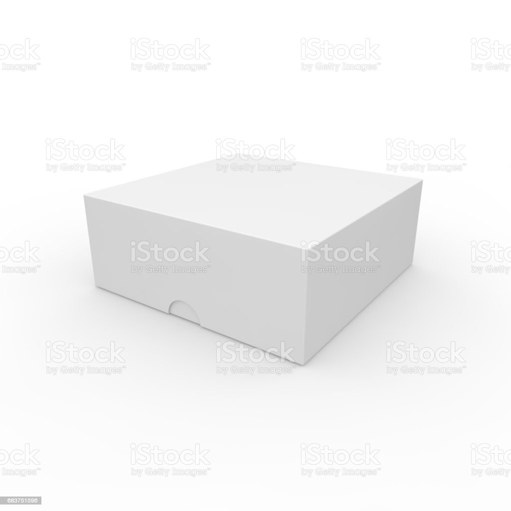 Closed white blank box. With a hole on the lid to open stock photo
