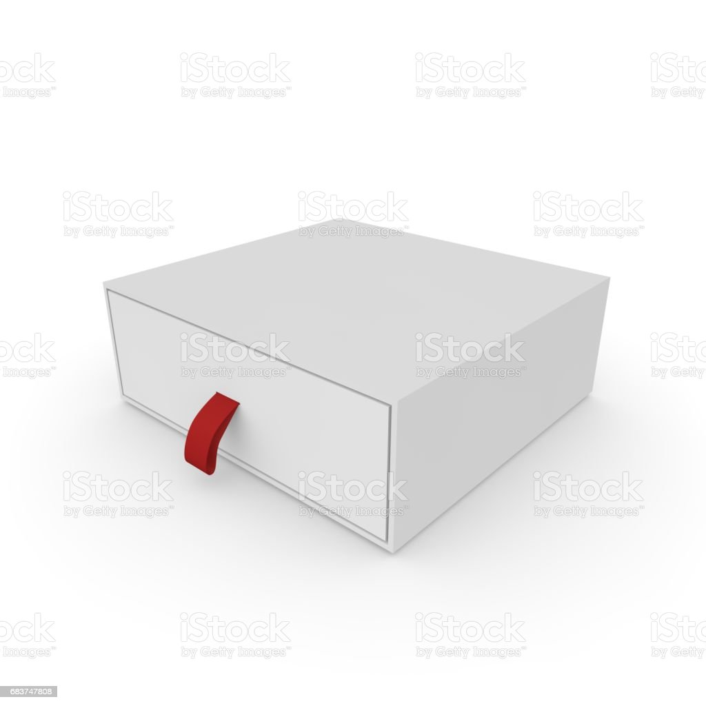 Closed white blank box with rope stock photo