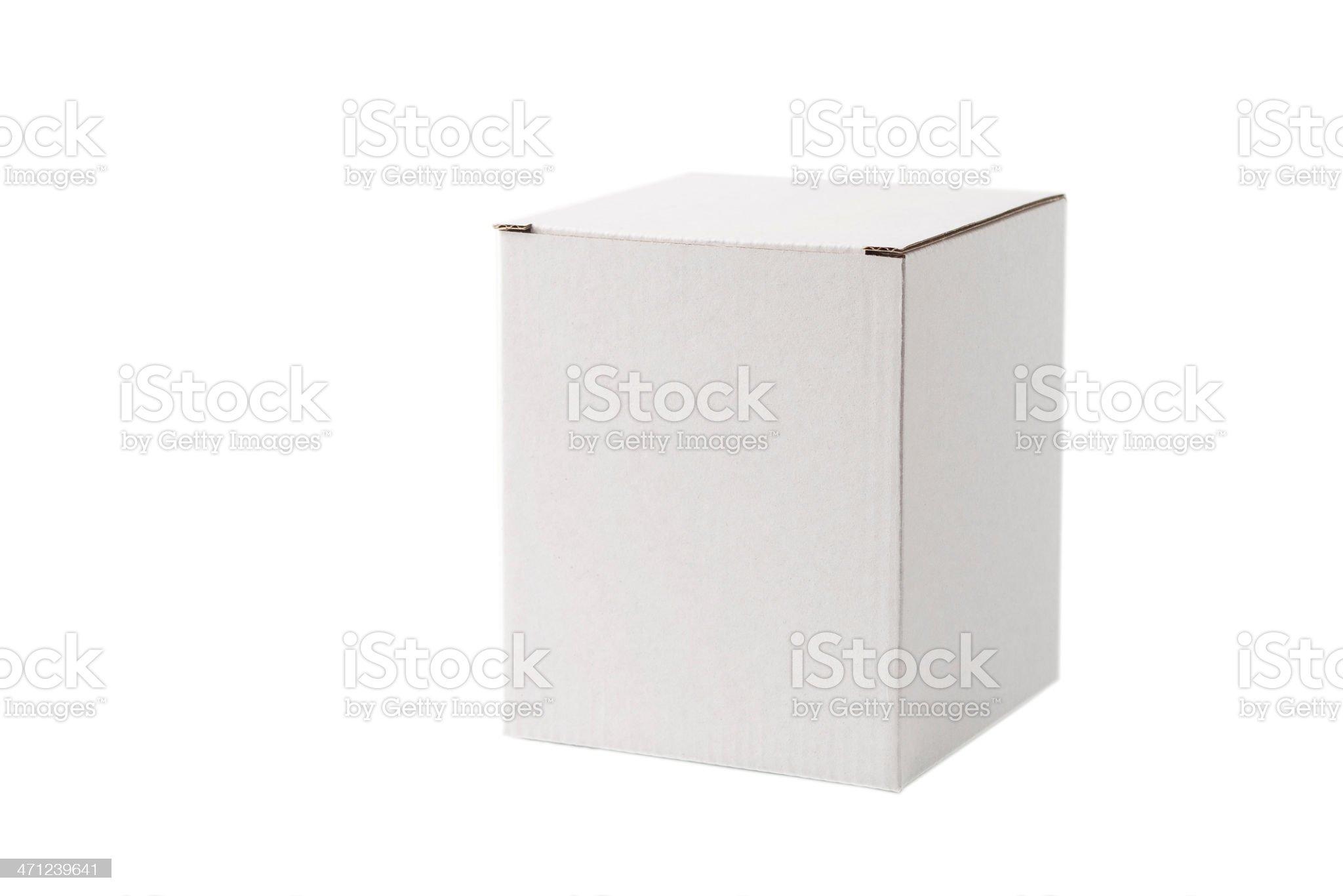 Closed white cardboard box royalty-free stock photo