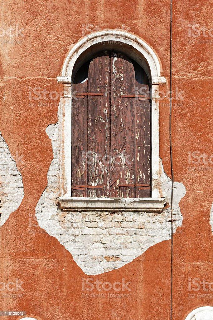 Closed window in Venice, Italy royalty-free stock photo