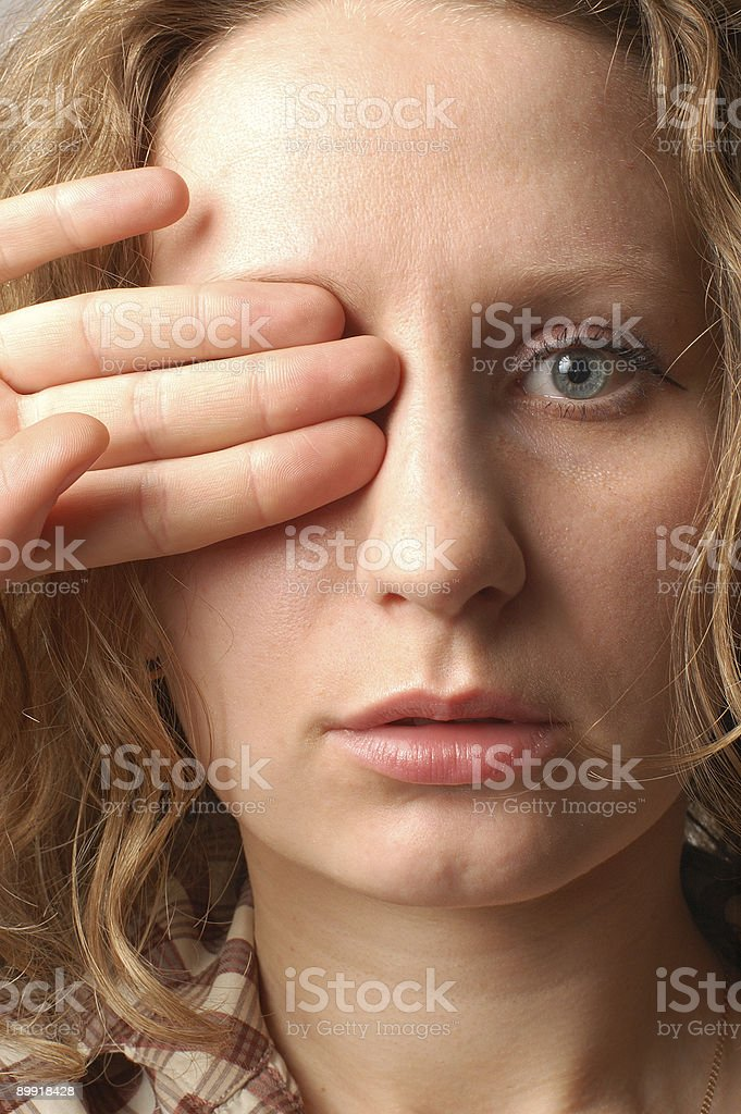 closed woman eye stock photo