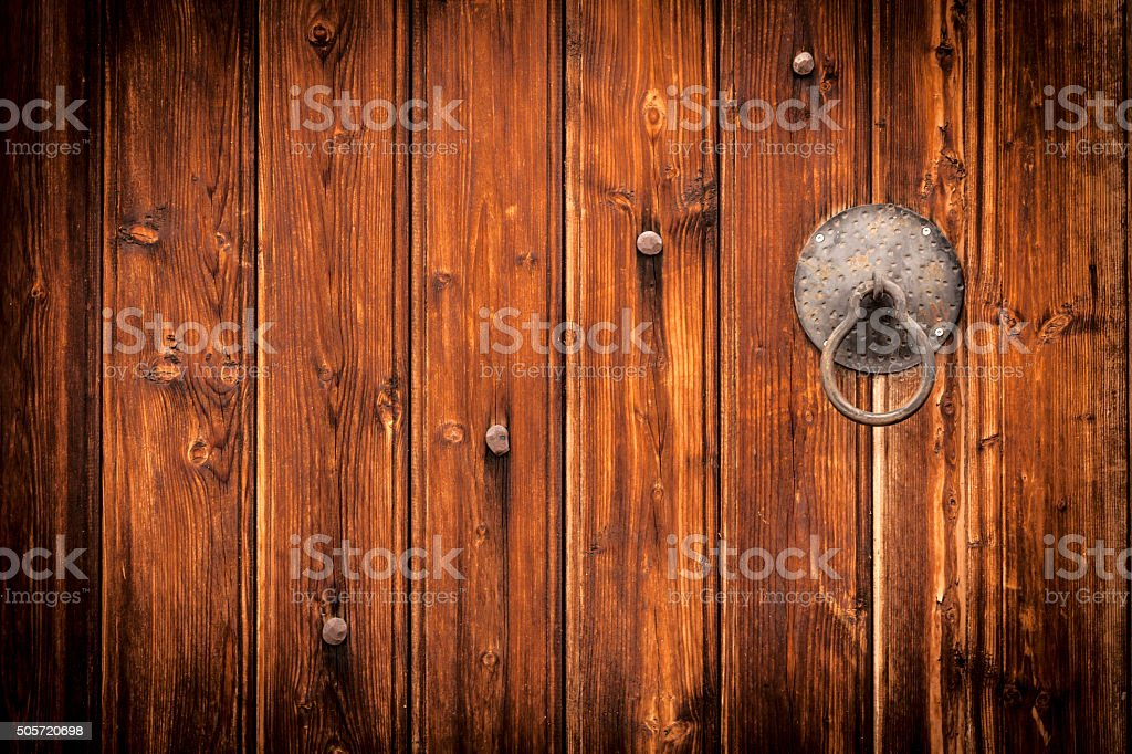 Closed Wood Door stock photo