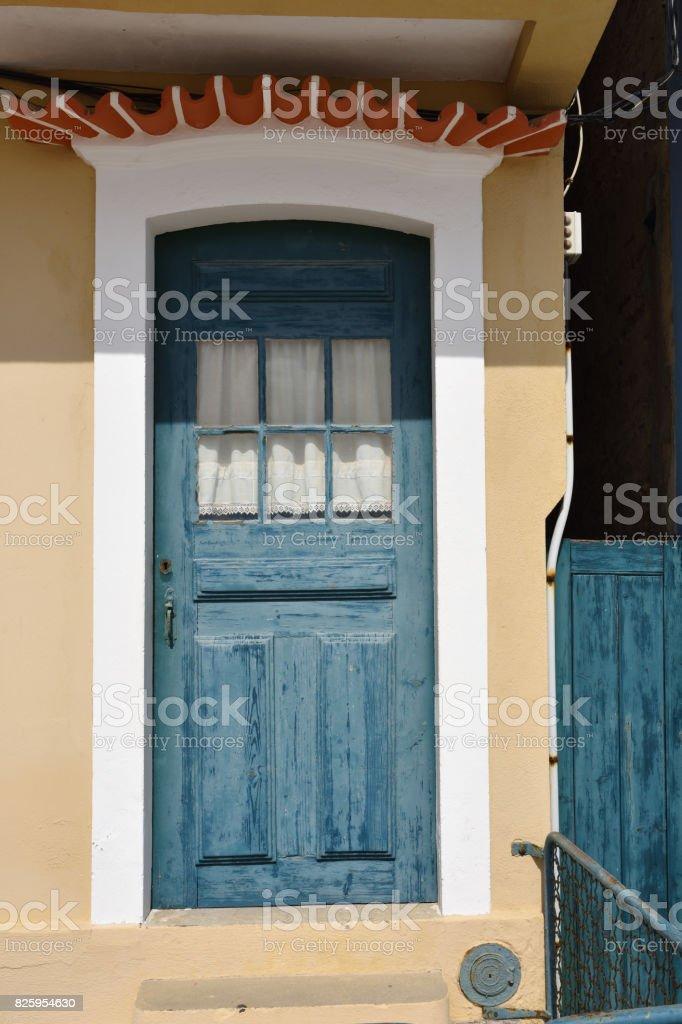 Closed wooden door stock photo
