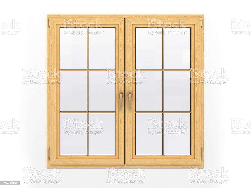 closed wooden window isolated on white background stock photo