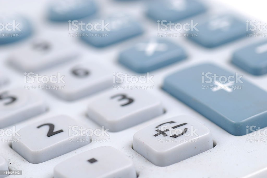 Closed-up of calculator button , invers minus and plus button stock photo