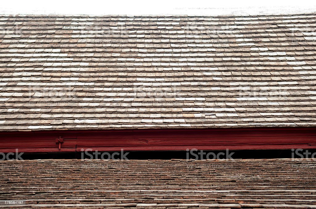 Closedup Old ceramic roof in temple royalty-free stock photo