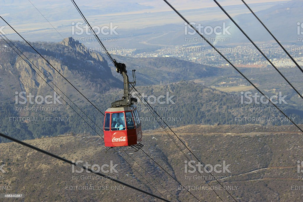 Closer view of the red gondola -CERRO CATEDRAL - Patagonia stock photo