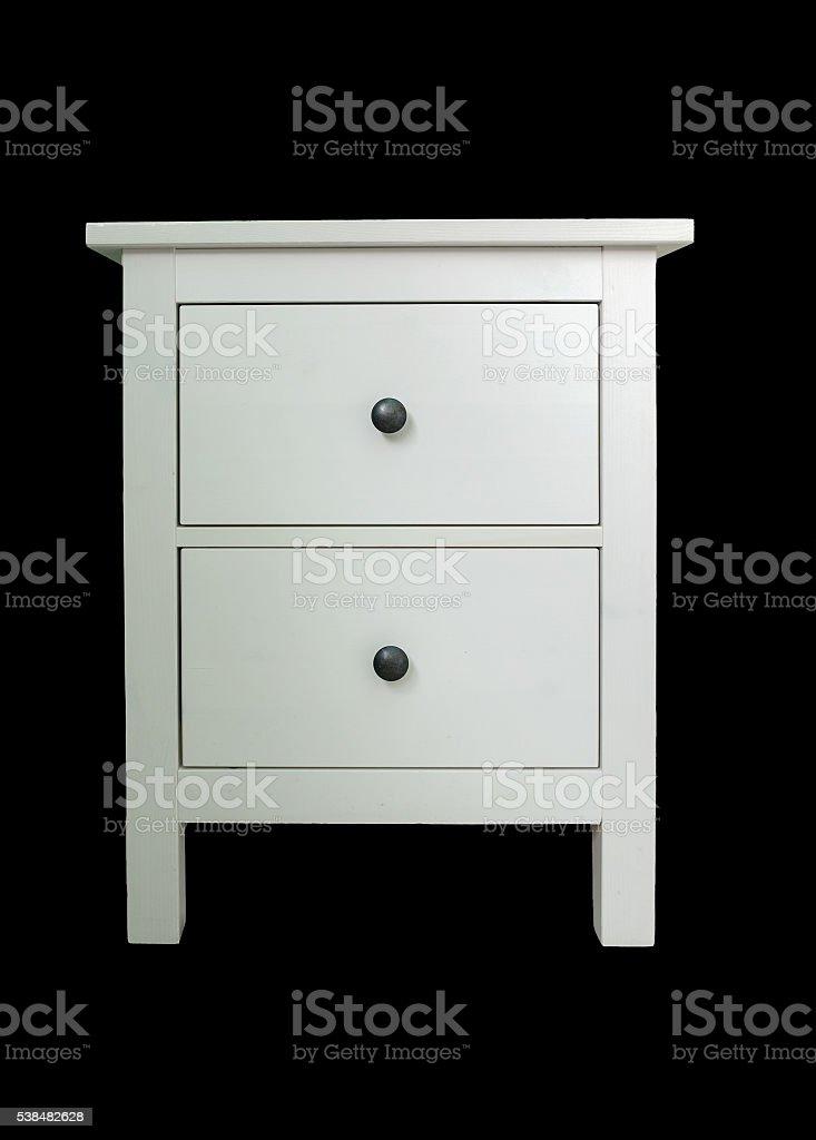 Closet drawer white shape simple on black background stock photo