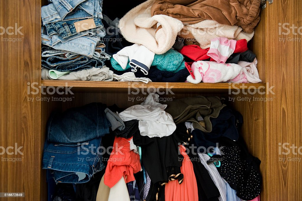 closet with clothes stock photo
