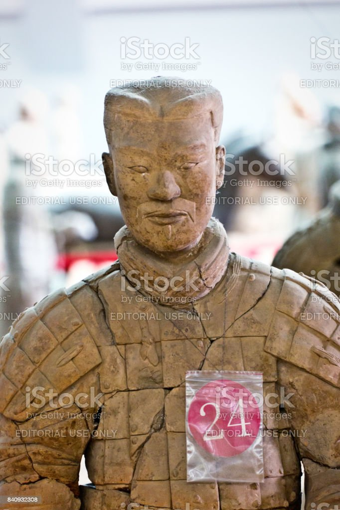 Close-uo of Historic archaeological Site of the Terra cotta Soldiers of Xian, China stock photo