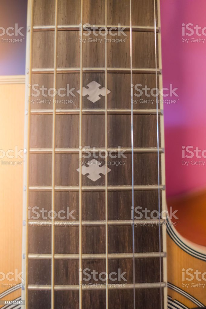 Closeup acoustic guitar , musical equipment for music background stock photo