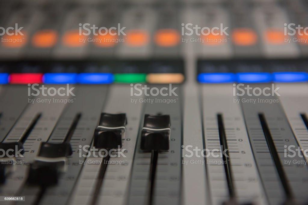 Closeup adjustment tools Audio sound mixer music, technology stock photo