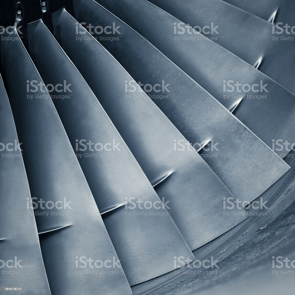 Close-up aircraft jet engine turbine stock photo