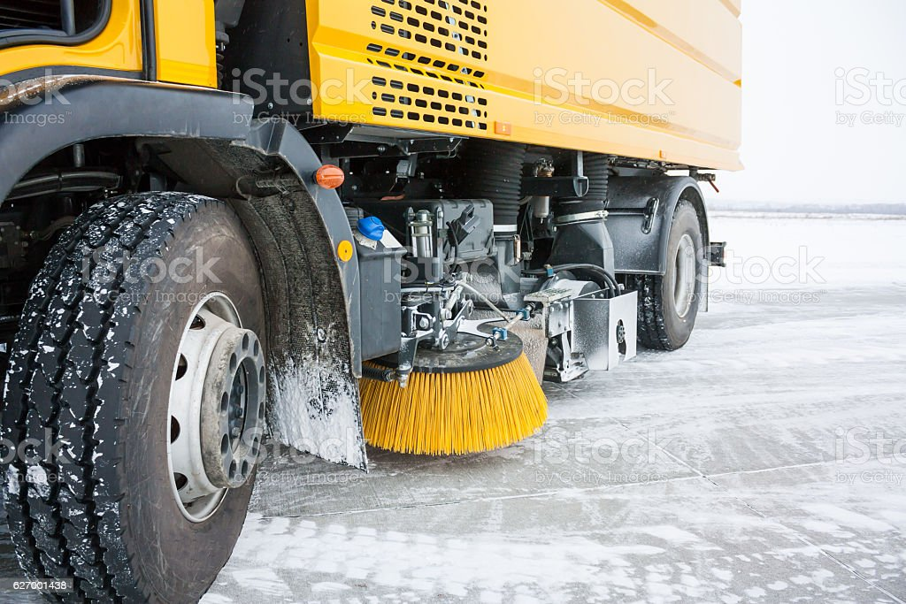 Close-up airfield sweeper-vacuum machine royalty-free stock photo