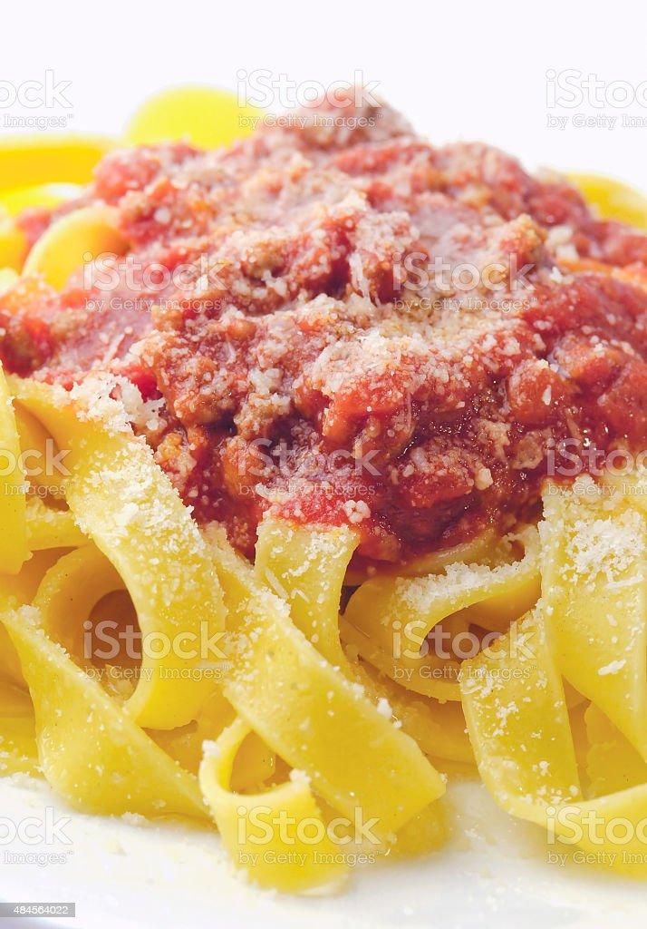 Closeup amatriciana pasta stock photo