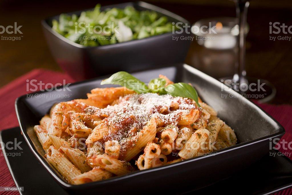 Close-up, angled shot of a pasta Bolognese royalty-free stock photo