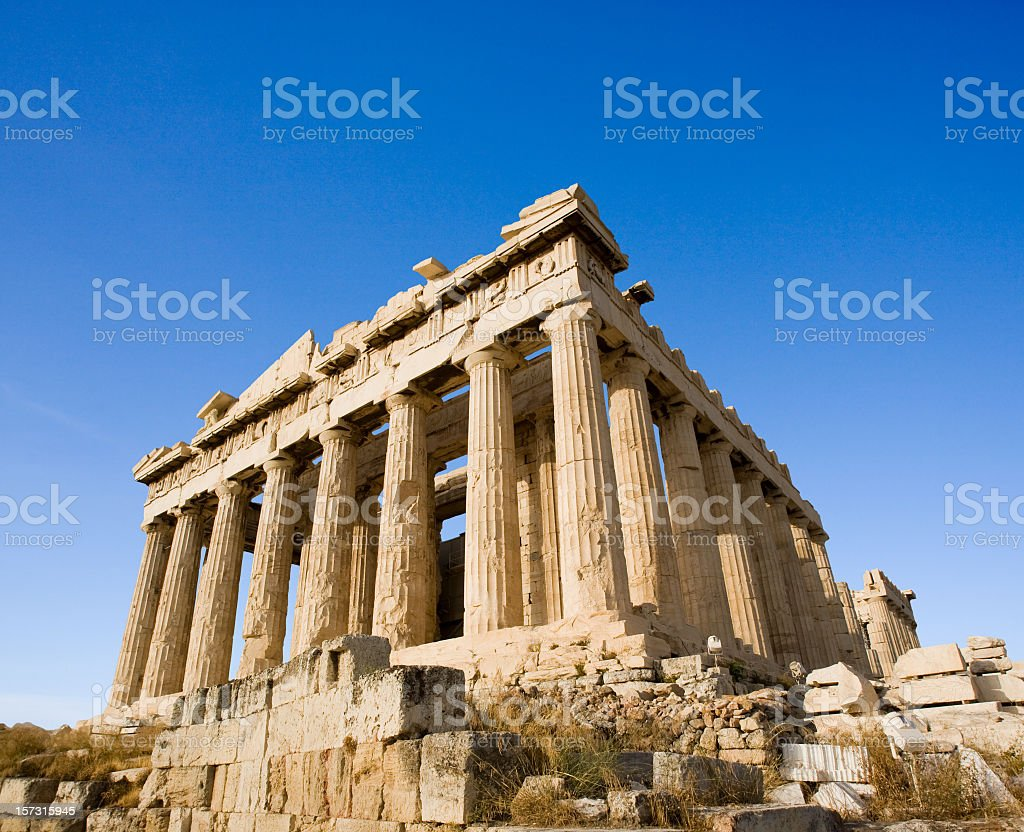 Close-up angled view of the Parthenon at Acropolis, Athens royalty-free stock photo