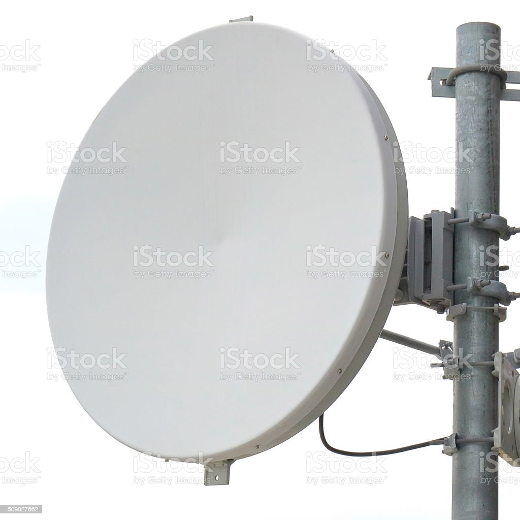 Close-up antenna dish for telecommunications with white background. stock photo