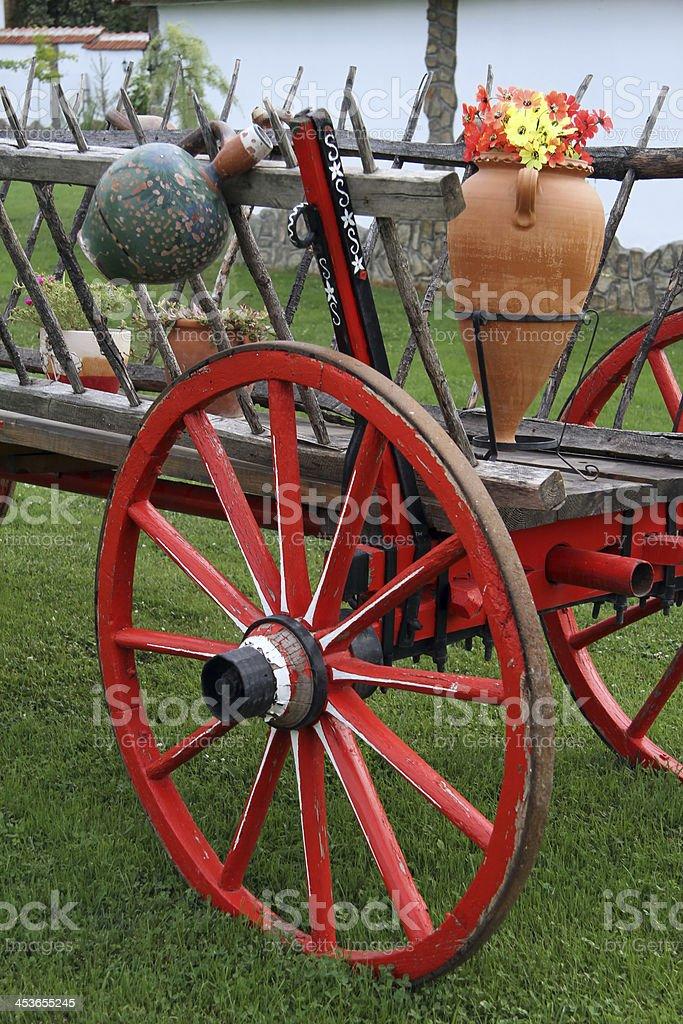 Close-up Antique Wagon Wheel stock photo