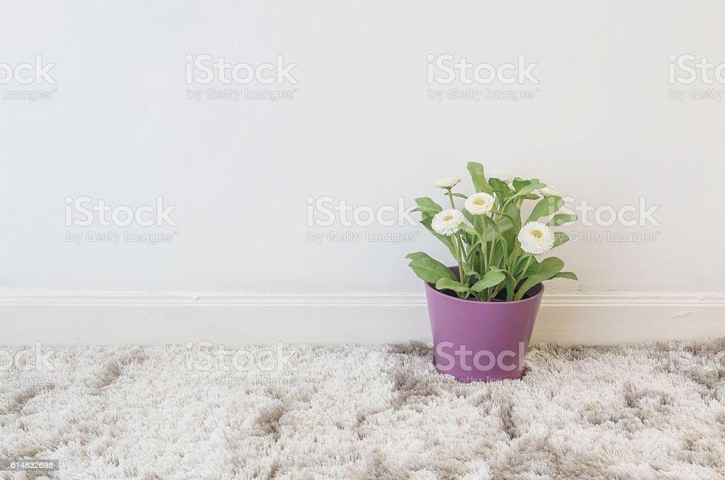 Closeup artificial plant in purple pot on gray carpet stock photo