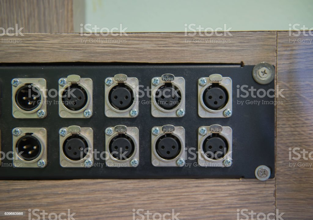 closeup Audio cable  , amplifier or mixer. Music equipment stock photo