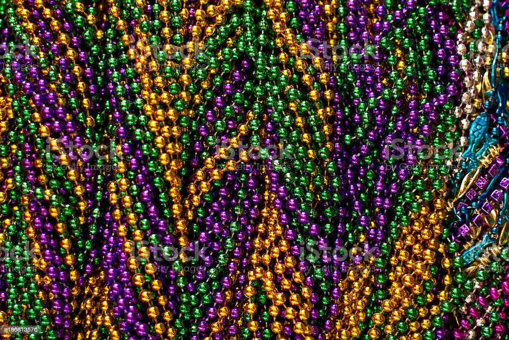 Close-up background of Mardi Gras beads royalty-free stock photo