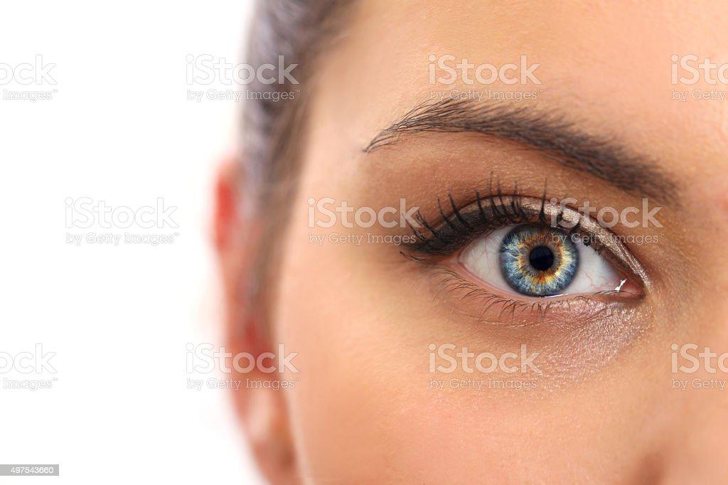 Closeup beautiful blue woman eye with long salon lashes looking stock photo