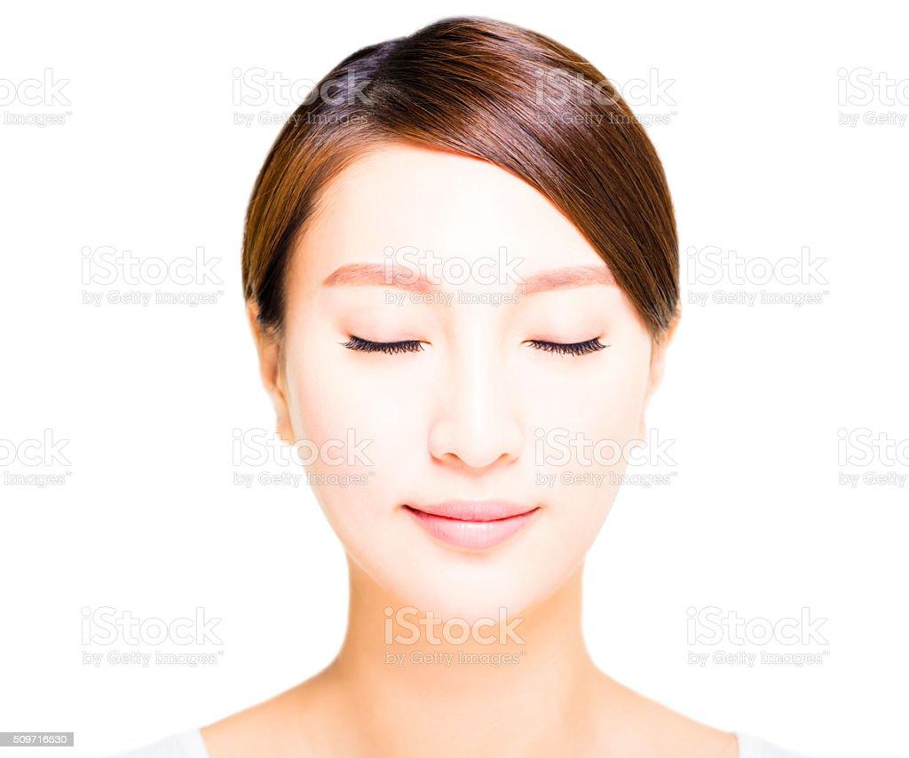 closeup beautiful young asian  woman  face stock photo