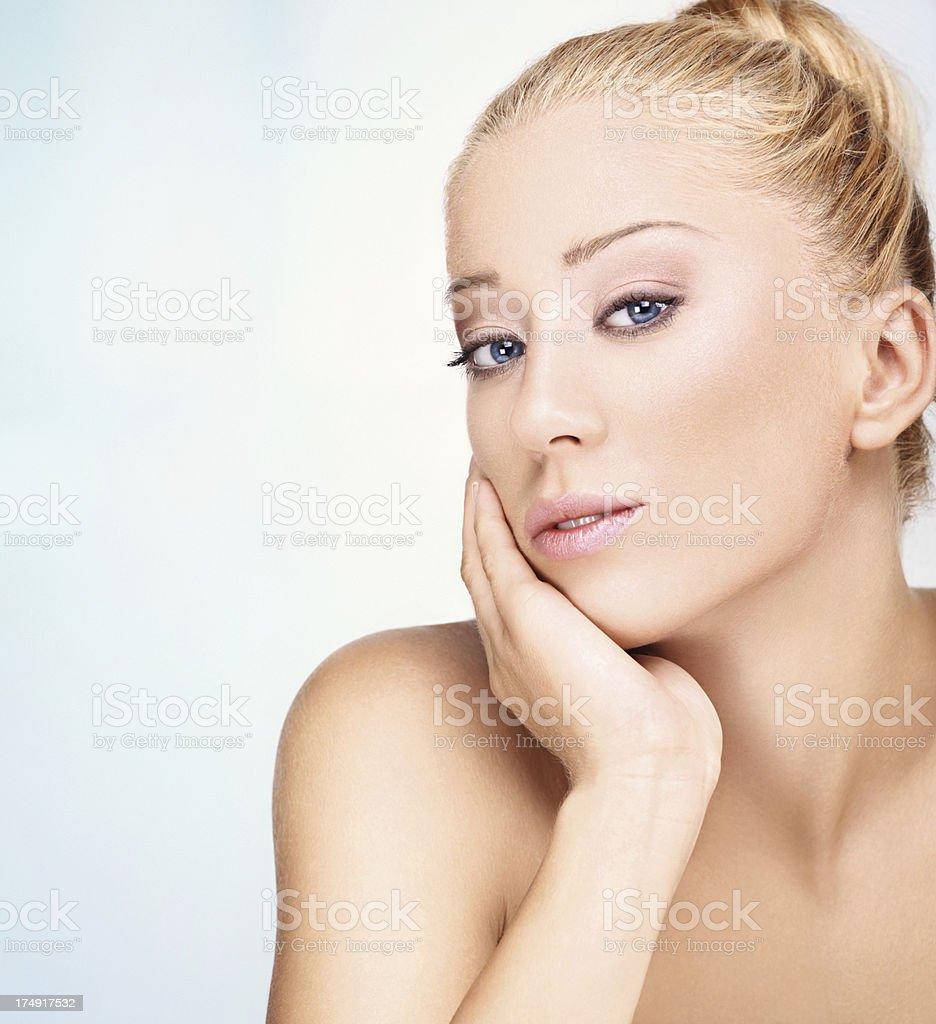 Closeup beauty portrait of a blond woman. royalty-free stock photo