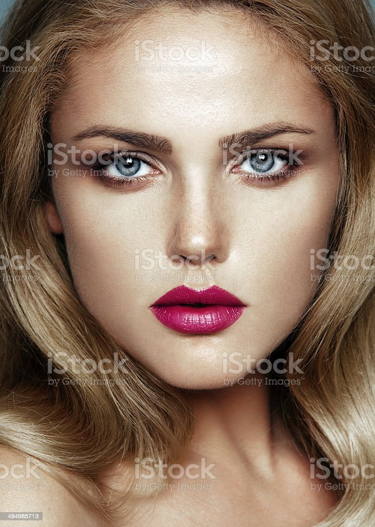 Close-up beauty portrait of young beautiful model stock photo