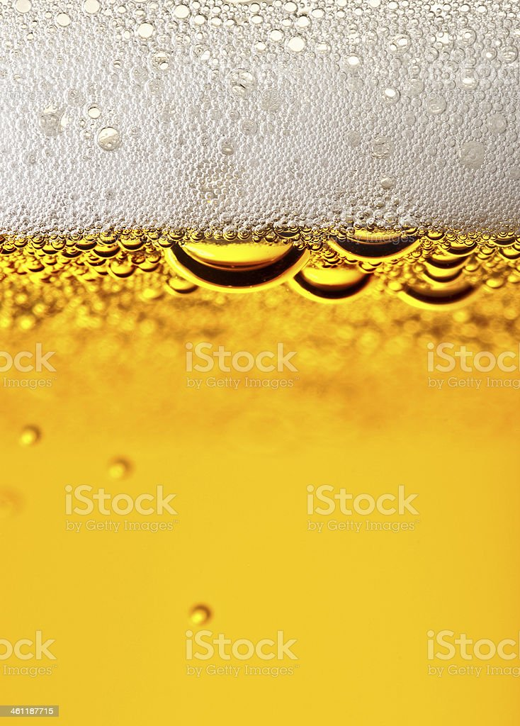Closeup beer with foam. stock photo