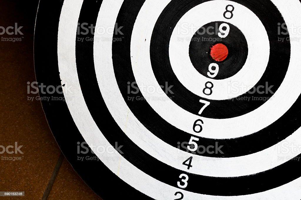 Closeup black and white dartboard. stock photo